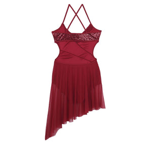 Red in colour, leotard dress with side hollow out, side cut out, spaghetti shoulder straps. Pas de bourree dancewear. Pasdebourreedancewear.