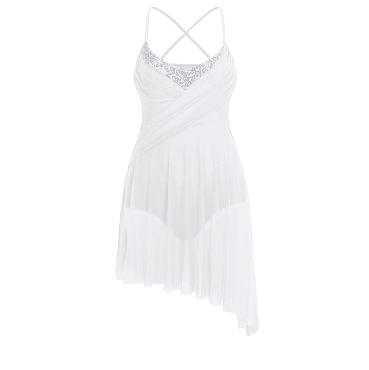 White in colour, leotard dress with side hollow out, side cut out, spaghetti shoulder straps. Pas de bourree dancewear. Pasdebourreedancewear.