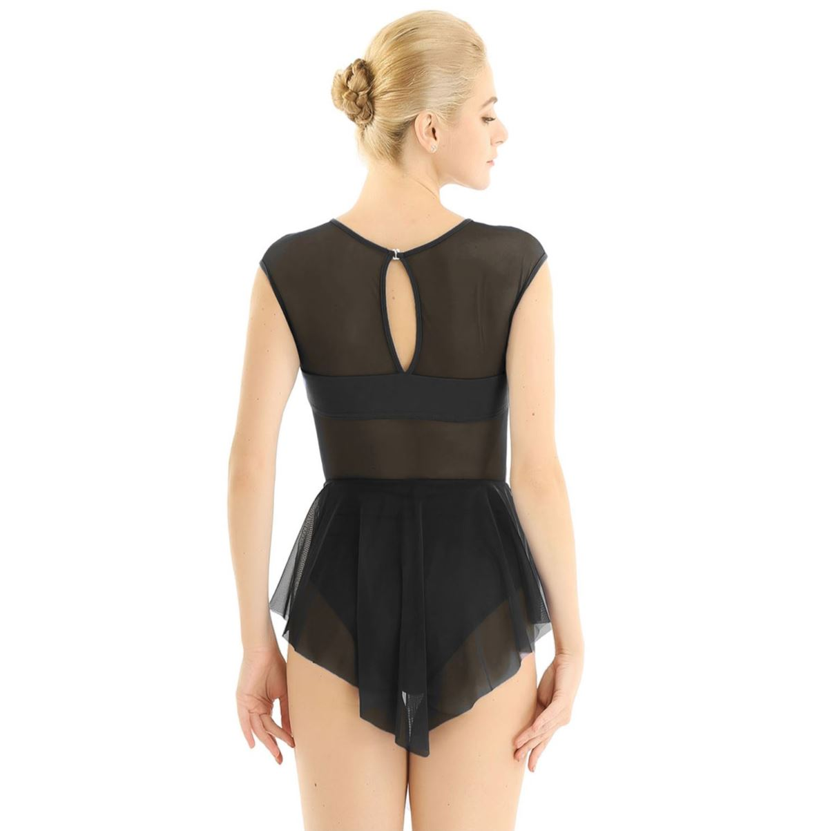 Black in colour, back view of women's leotard with front cut out design, mesh skirt attached. Pas de bourree dancewear. Pasdebourreedancewear.