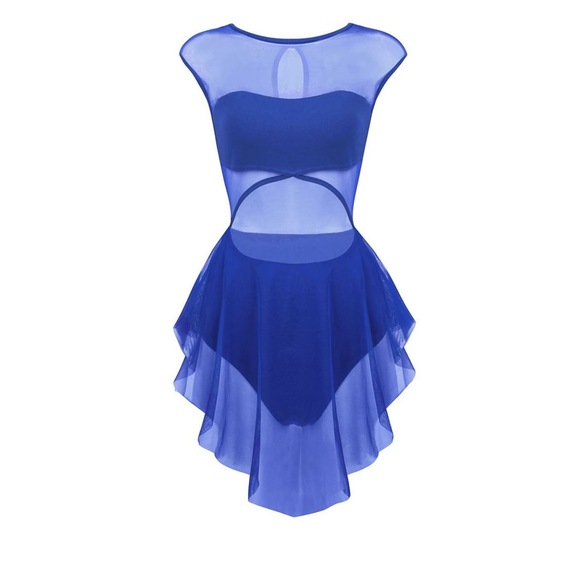 Blue in colour, front view of women's leotard, front cut out design, mesh skirt attached. Pas de bourree dancewear. Pasdebourreedancewear.