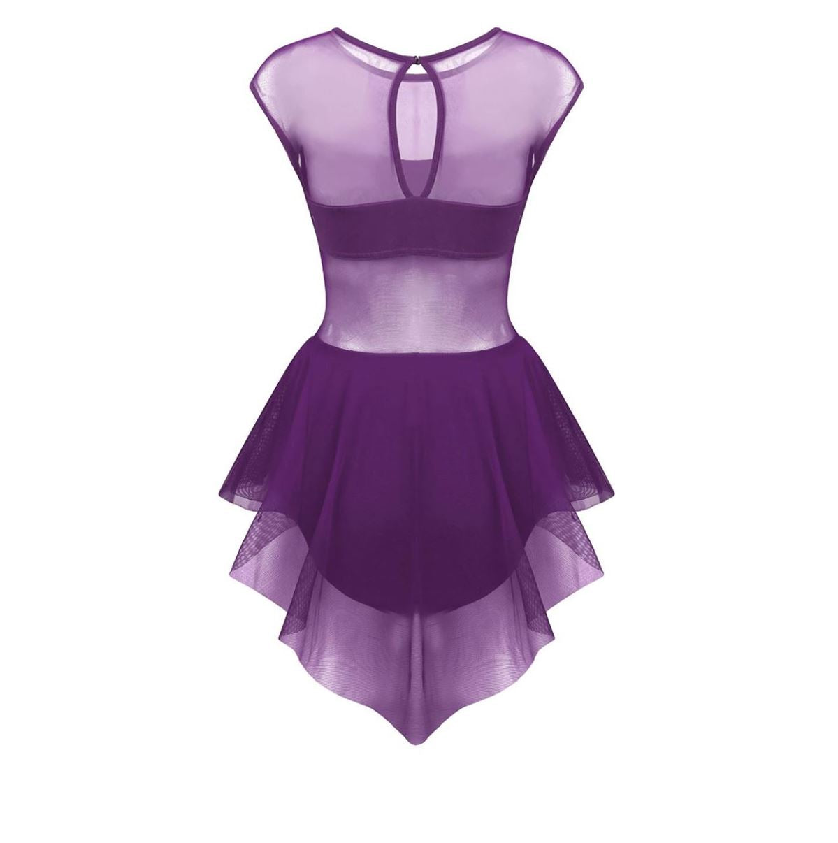 Purple in colour, back view of women's leotard with front cut out design, mesh skirt attached. Pas de bourree dancewear. Pasdebourreedancewear.