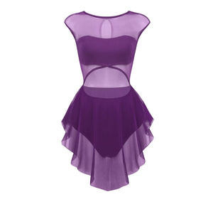 Purple in colour, front view of women's leotard, front cut out design, mesh skirt attached. Pas de bourree dancewear. Pasdebourreedancewear.