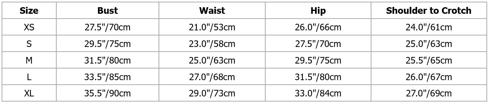 Size chart for backless leotard. Pas de bourree dancewear.