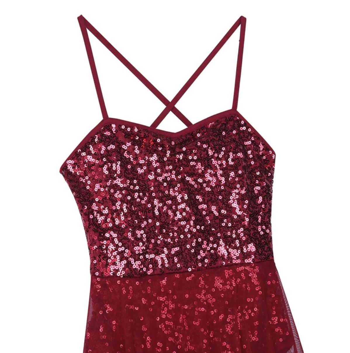 Red in colour, full body sequins leotard with mesh maxi skirt attached. Pas de bourree dancewear. Pasdebourreedancewear.