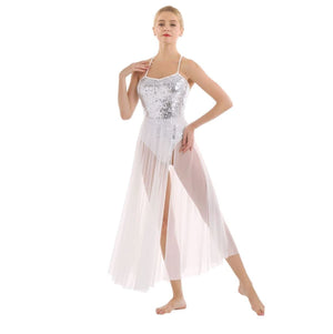 White in colour, full body sequins leotard with mesh maxi skirt attached. Pas de bourree dancewear. Pasdebourreedancewear.