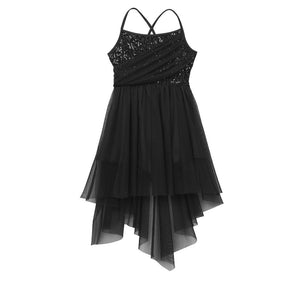 Black in colour, leotard dress, sequins top bodice, mesh skirt attached. Pas de bourree dancewear. Pasdebourreedancewear.