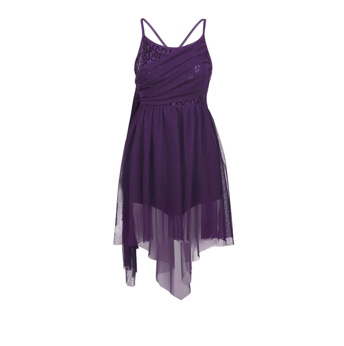 Purple in colour, leotard dress, sequins top bodice, mesh skirt attached. Pas de bourree dancewear. Pasdebourreedancewear.