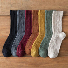 Load image into Gallery viewer, 7 Pair Twisted Solid Color Cotton Blend Crew Socks - MoSocks