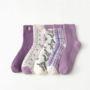 5 Pair Purple Theme Warm Cotton Blend Crew Socks - MoSocks