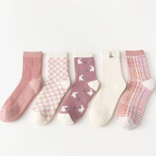 5 Pair Pink Theme Warm Cotton Blend Crew Socks - MoSocks