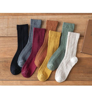7 Pair Twisted Solid Color Cotton Blend Crew Socks - MoSocks