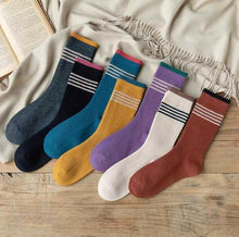 Load image into Gallery viewer, 7 Pair Three Stripe Stylish Cotton Blend Crew Socks