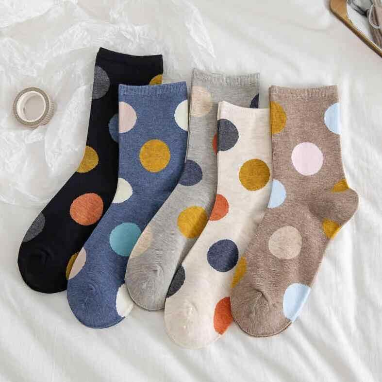5 Pair Polka Dot Cotton Comfy Socks