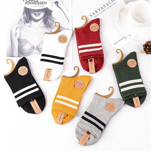 6 Pair Stripe Stylish Cotton Blend Crew Socks - MoSocks