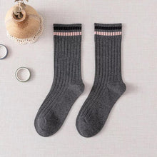 Load image into Gallery viewer, 2 Stripe Top Cotton Blend Stylish Socks