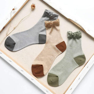6 Pair Patchwork Transparent Cotton Crew Socks - MoSocks