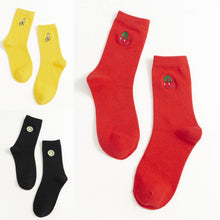 Load image into Gallery viewer, Fruit Embroidery Cotton Blend Crew Socks