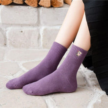 Load image into Gallery viewer, 5 Pair Purple Theme Warm Cotton Blend Crew Socks - MoSocks