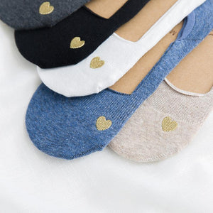 5 pair LOVE Embroidery NOSHOW Socks