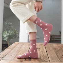 Load image into Gallery viewer, 5 Pair White Polka Dot Cotton Blend Crew Socks - MoSocks