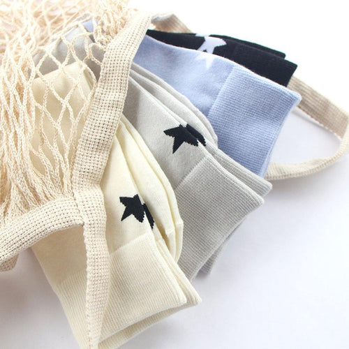 4 Pair Solid Color Star Pattern Cotton Blend Crew Socks - MoSocks