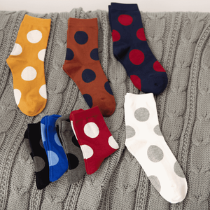 Large Polka Dot Cotton Crew Socks - MoSocks
