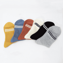 Load image into Gallery viewer, 6 Pair Transparent Two Stripe Cotton Blend Crew Socks - MoSocks