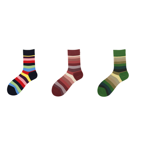 3 Pair Rainbow Stripe Cotton Blend Crew Socks - MoSocks