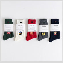 Load image into Gallery viewer, 5 Pair Cartoon Embroidery Cotton Blend Crew Socks