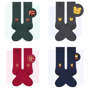 5 Pair Cartoon Embroidery Cotton Blend Crew Socks