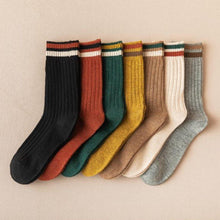 Load image into Gallery viewer, 7 Pair Top Stripe Soft Wool Blend Crew Socks