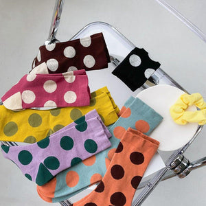 7 Pair Cotton Blend Polka Dot Crew Socks