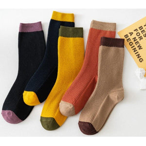 5 Pair Cotton Blend Patchwork Comfy Socks