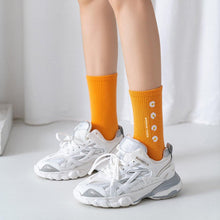 Load image into Gallery viewer, Daisy Print Cotton Blend Comfy Crew Socks