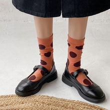 Load image into Gallery viewer, 7 Pair Cotton Blend Polka Dot Crew Socks