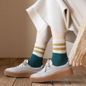 2 Stripe Cotton Blend Stylish Warm Comfy Boot Socks