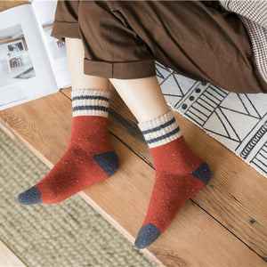 5 Pair Two Stripe Patchwork Wool Warm Soft Comfy Boot Socks