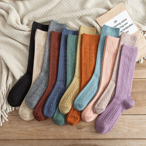Solid Color Twist Angora Blend Thin Crew Socks