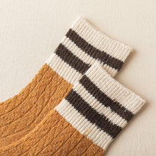 Load image into Gallery viewer, 2 Stripe Cotton Blend Stylish Warm Comfy Boot Socks