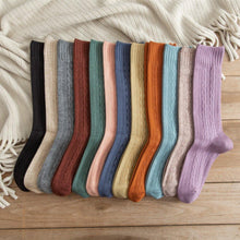 Load image into Gallery viewer, Solid Color Twist Angora Blend Thin Crew Socks