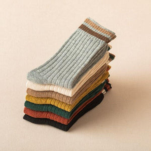 7 Pair Top Stripe Soft Wool Blend Crew Socks