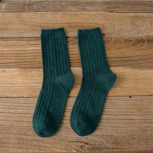 Basic Vertical Stripe Wool Blend Warm Comfy Soft Socks