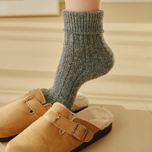 Super Warm Cozy Twist Lamb Wool Blend Basic Color Socks