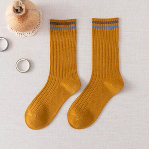 2 Stripe Top Cotton Blend Stylish Socks