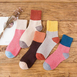 5 Pair Patched Wool Warm Comfy Socks - Fall/Winter