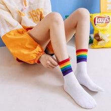 Load image into Gallery viewer, 6 pair Black/White Rainbow Stripes Crew Socks