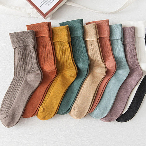Plain Pure Color Comfy Cotton Blend Crew Socks - MoSocks