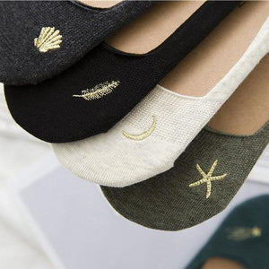 5 pair Dream Embroidery NOSHOW Socks