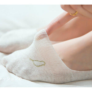 5 Pair Bird Embroidery NoShow Socks