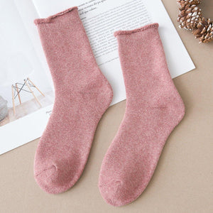 5 Pair Basic Color Loose Top Cotton Socks
